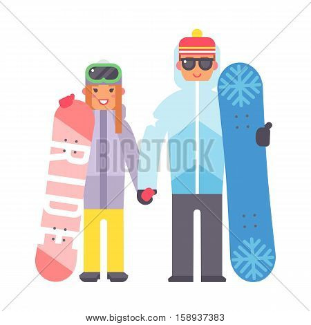 Skiing man and woman christmas winter vacation. Happy travel snowboard couple. Active sport people on winter vacation character flat vector illustration. Ski tourism holiday character.