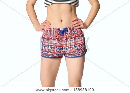 Close Up Of Woman In Shorts With Hands On Waist, Front View. Young Beautiful Woman Isolated On The W