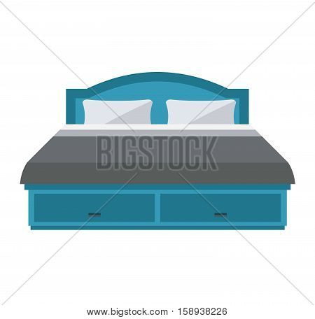 Exclusive sleeping bed furniture design bedroom fashionable bunk. Interior banknet room vector illustration. Comfortable relaxation home room with bedding.
