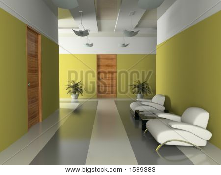Interior Of The Corridor In Office 3D Rendering