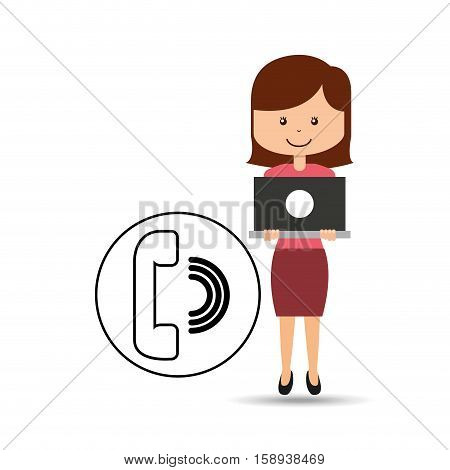 support assitance concept girl with telephone vector illustration eps 10
