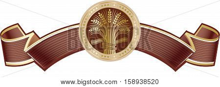 Brown rich elegant banner with gold ripe wheat sheaf. Vector decorative element brand icon or logo template.