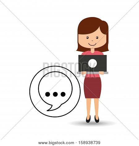 support assitance concept girl with bubble speech vector illustration eps 10