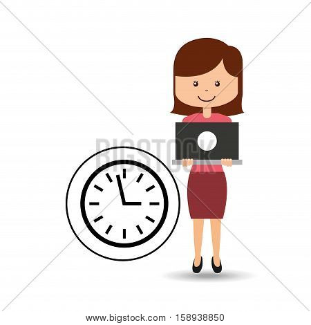 support assitance concept girl with clock time vector illustration eps 10