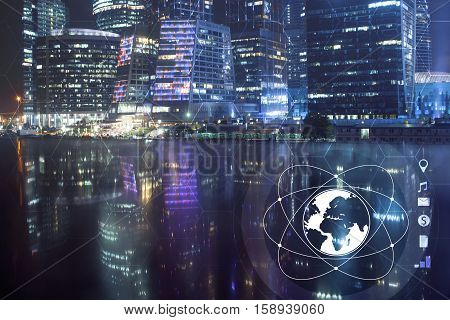 Central business district and conceptual image of digital theme.