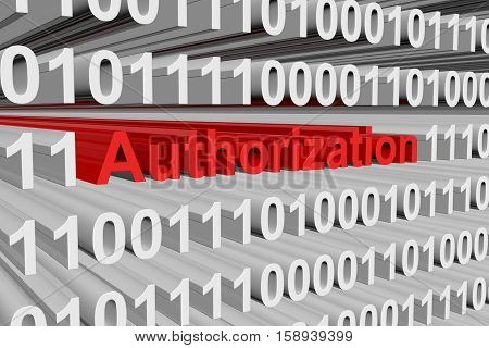 authorization in the form of binary code, 3D illustration