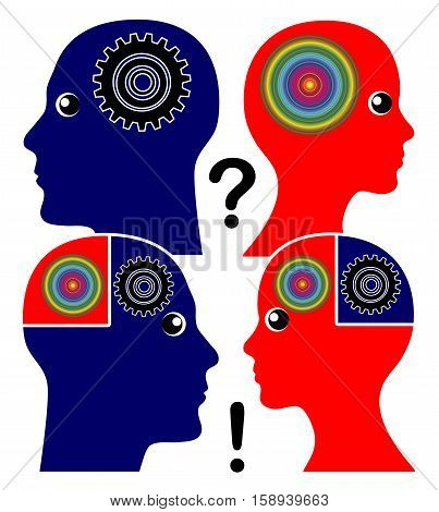 Developing Emotional Intelligence. Man and woman learn to understand each others way of thinking and perception