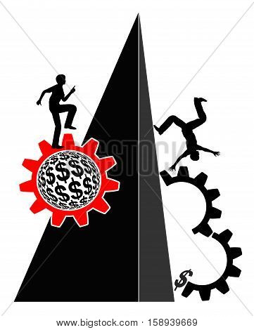 Rise and Fall in Business and Life. Person on his way up and on his way down
