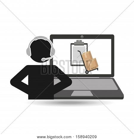 delivery call centre operator online clipboard and hand truck box vector illustration eps 10