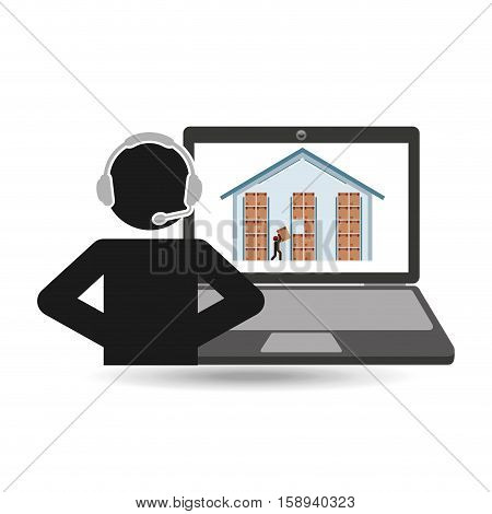 delivery call centre operator online warehouse cardboard boxes vector illustration eps 10