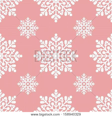White snowflakes on pink background seamless pattern for continuous replicate
