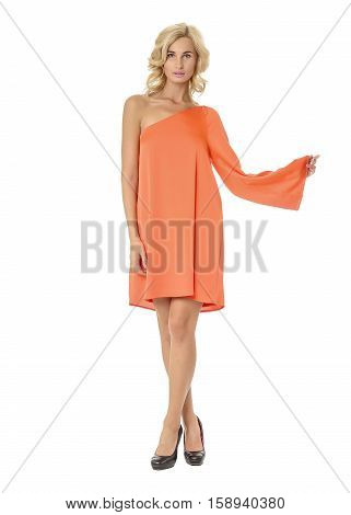 Portrait Of Flirtatious Woman In Coral Dress Isolated On White