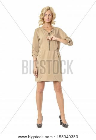 Portrait Of Flirtatious Woman In Tunic Dress Isolated On White