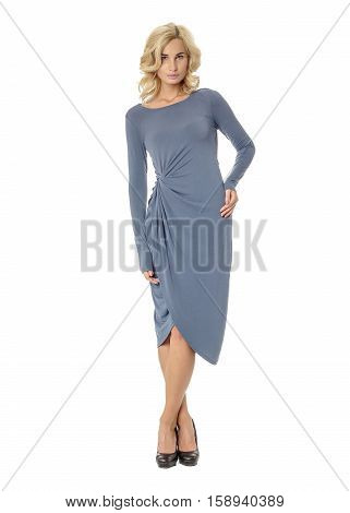 Portrait Of Flirtatious Woman In Blue Dress Isolated On White