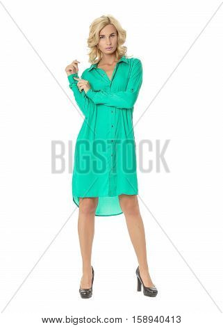 Portrait Of Flirtatious Woman In Green Shirt Dress Isolated On White