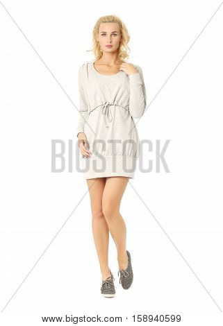 Portrait Of Flirtatious Woman In Short Dress Isolated On White