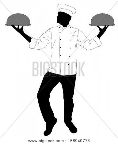 kitchen chef serving a meal silhouette - vector