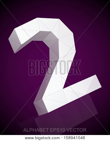 Abstract White 3D polygonal number two with reflection. Low poly alphabet collection. EPS 10 vector illustration.