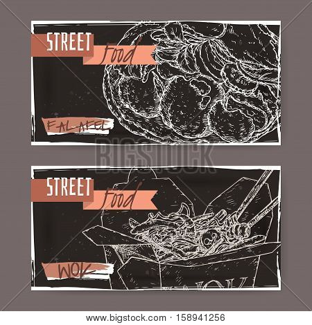 Two landscape banners with falafel and wok noodles in a box sketch on black grunge background. Asian cuisine. Street food series. Great for market, restaurant, cafe, food label design.