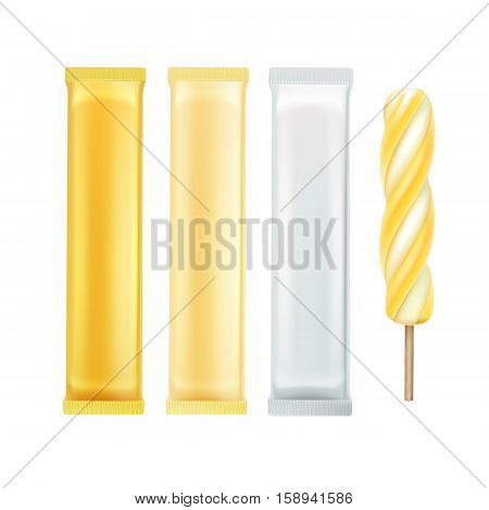 Vector Set Of Yellow Banana Spiral Popsicle Lollipop Ice Cream Fruit Juice Ice on Stick with Yellow White Plastic Foil Wrapper for Branding Package Design Close up Isolated on Background
