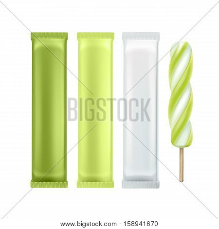 Vector Set of Green Kiwi Spiral Popsicle Lollipop Ice Cream Fruit Juice Ice on Stick with Green White Plastic Foil Wrapper for Branding Package Design Close up Isolated on Background