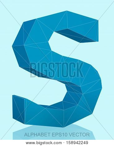 Abstract Blue 3D polygonal uppercase letter S with reflection. Low poly alphabet collection. EPS 10 vector illustration.