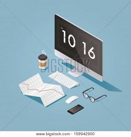 Vector isometric concept illustration of office work station. Desktop computer glasses phone diagram keyboard cup of hot coffee finance stock infographic.