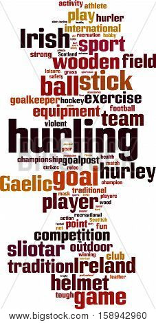 Hurling word cloud concept. Vector illustration on white