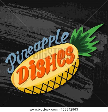 Pineapple picture. Hand drawn vector stock illustration. Chalk board drawing. EPS