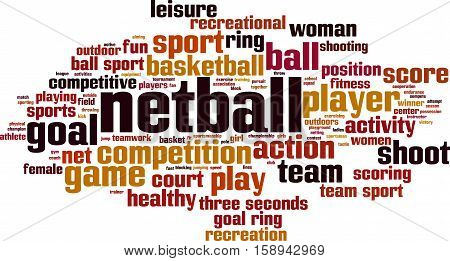 Netball word cloud concept. Vector illustration on white