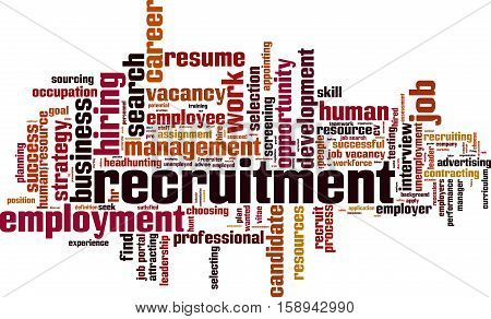 Recruitment word cloud concept. Vector illustration on white