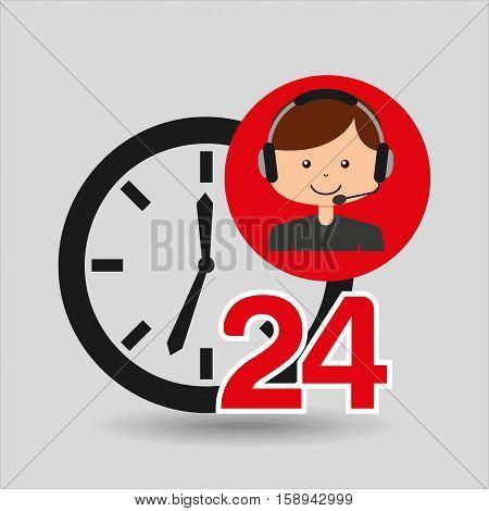 man assitance 24 hours clock vector illustration eps 10
