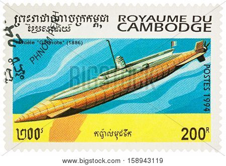 MOSCOW RUSSIA - NOVEMBER 28 2016: A stamp printed in Cambodia shows old French submarine