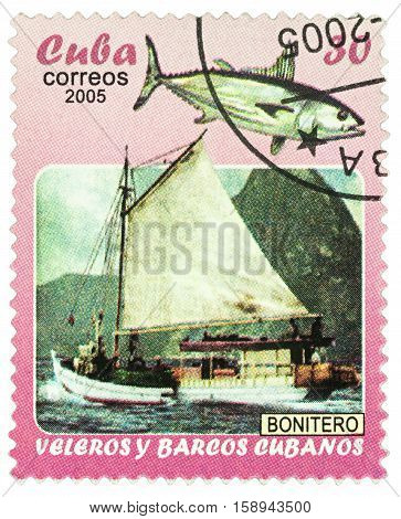 MOSCOW RUSSIA - NOVEMBER 29 2016: A stamp printed in Cuba shows sailing ship and fish series