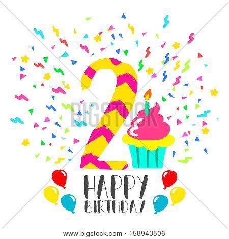 Happy Birthday Card For 2 Year Kid Fun Party Art