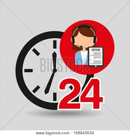 female call center 24 clock service complaints claims vector illustration eps 10