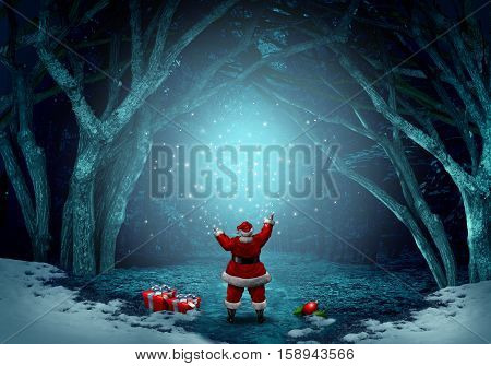 Magical santa claus background as a jolly Christmas symbol spreading magic sparkles in a winter forest celebration with snow and copy space with 3D illustration elements.