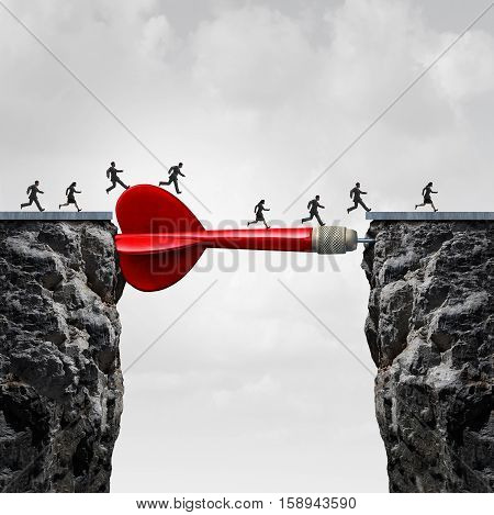 Human resources target as a group of people running across a giant dart supporting as a bridge to career success or recruitment and recruiting aims with 3D illustration elements.