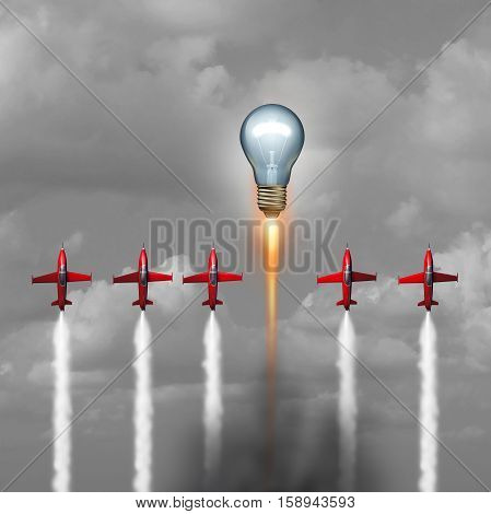 Great idea concept as a group of jet airplanes flying upward with a lightbulb blasting above the competition with a rocket engine as a powerful creative success metaphor with 3D illustration elements.