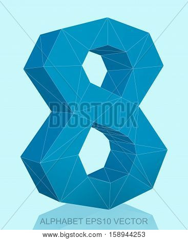 Abstract Blue 3D polygonal 8 with reflection. Low poly alphabet collection. EPS 10 vector illustration.