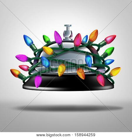 Holiday service and christmas time hospitality as a hotel service bell with festive bright light decoration wrapped around the reception lobby object as a 3D illustration.
