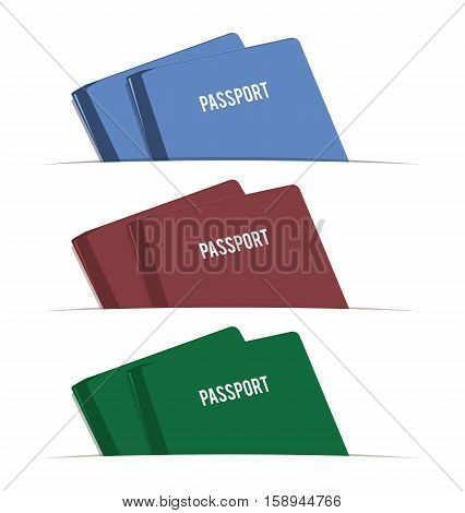 Different colored passports. Flat design. Vector illustration.