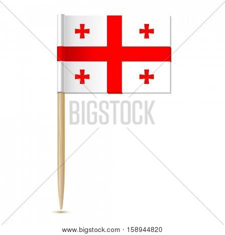 Flag of Georgia country. Flag toothpick 10eps. Isolated on white background