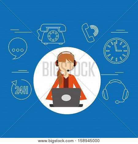 avatar girl orange jacket contact us information service vector illustration eps 10