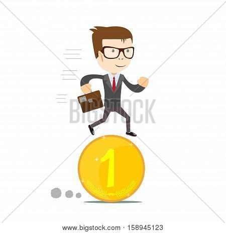 Time for invest, man with gold coin. Time investment concept, finance and money, investor and stock market