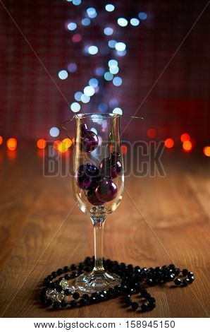 Glass Of Champagne, Christmas Tree Decorations And Beads