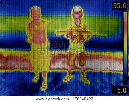 Infrared Camouflage Thermal Imaging Thermogram. Invisible Imprint