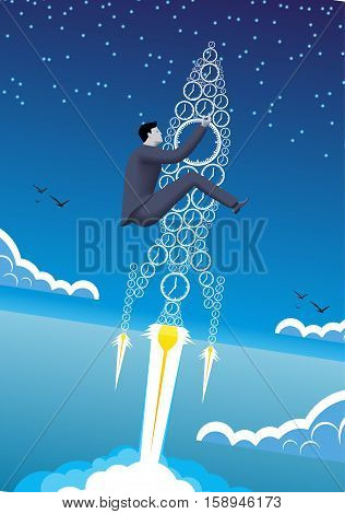Power of time business concept. Confident businessman in business suit with flying up the rocket made of clocks. Power of time time to success conversion.