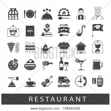 Premium quality kitchen and restaurant icons. Collection of food and beverage icons.