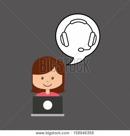 support assitance concept girl with headset vector illustration eps 10